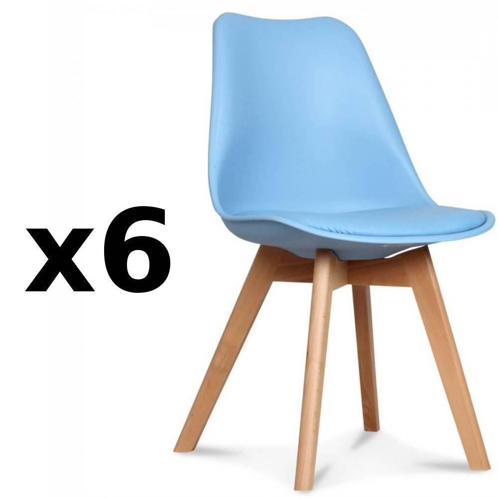 Lot De 6 Chaises OSLO Design Scandinave Bleue Clair Pitement En Htre