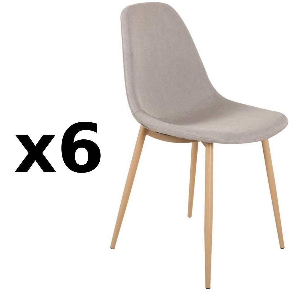 lot de 6 chaises stockholm design scandinave tissu gris clair - Chaise Grise Scandinave