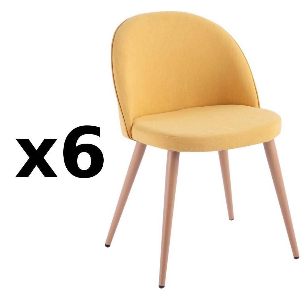 nos lots de chaise design lot de 6 chaises design scandinave velvet tissu jaune inside75. Black Bedroom Furniture Sets. Home Design Ideas