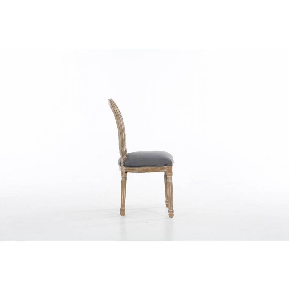 Lot de 6 chaises médaillon VERSAILLES style louis XVI lin gris  et chêne clair vieilli