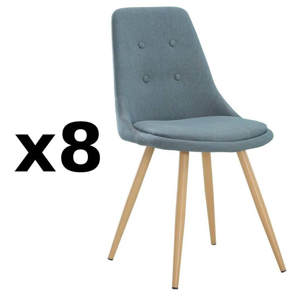 nos lots de chaise design lot de 8 chaises design scandinave midgard tissu bleu inside75. Black Bedroom Furniture Sets. Home Design Ideas