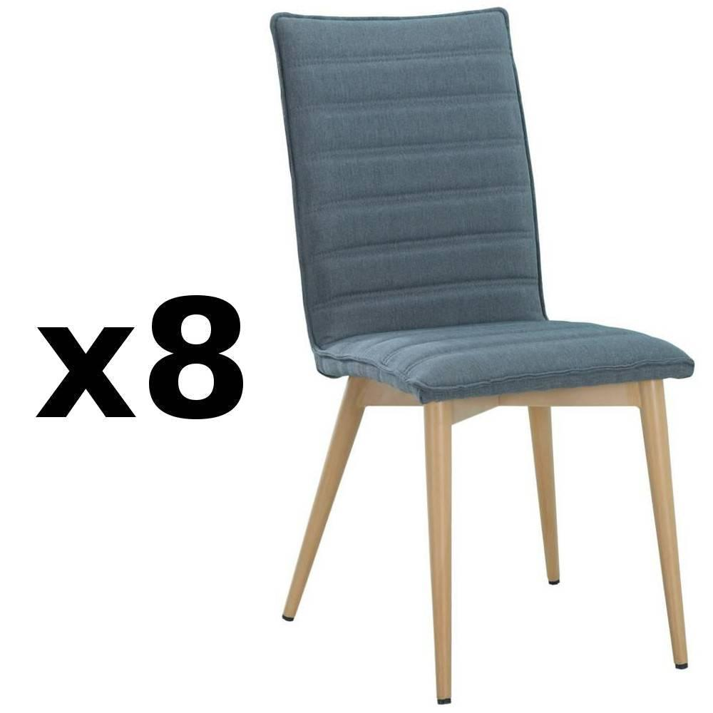 nos lots de chaise design lot de 8 chaises design scandinave utgard tissu bleu inside75. Black Bedroom Furniture Sets. Home Design Ideas