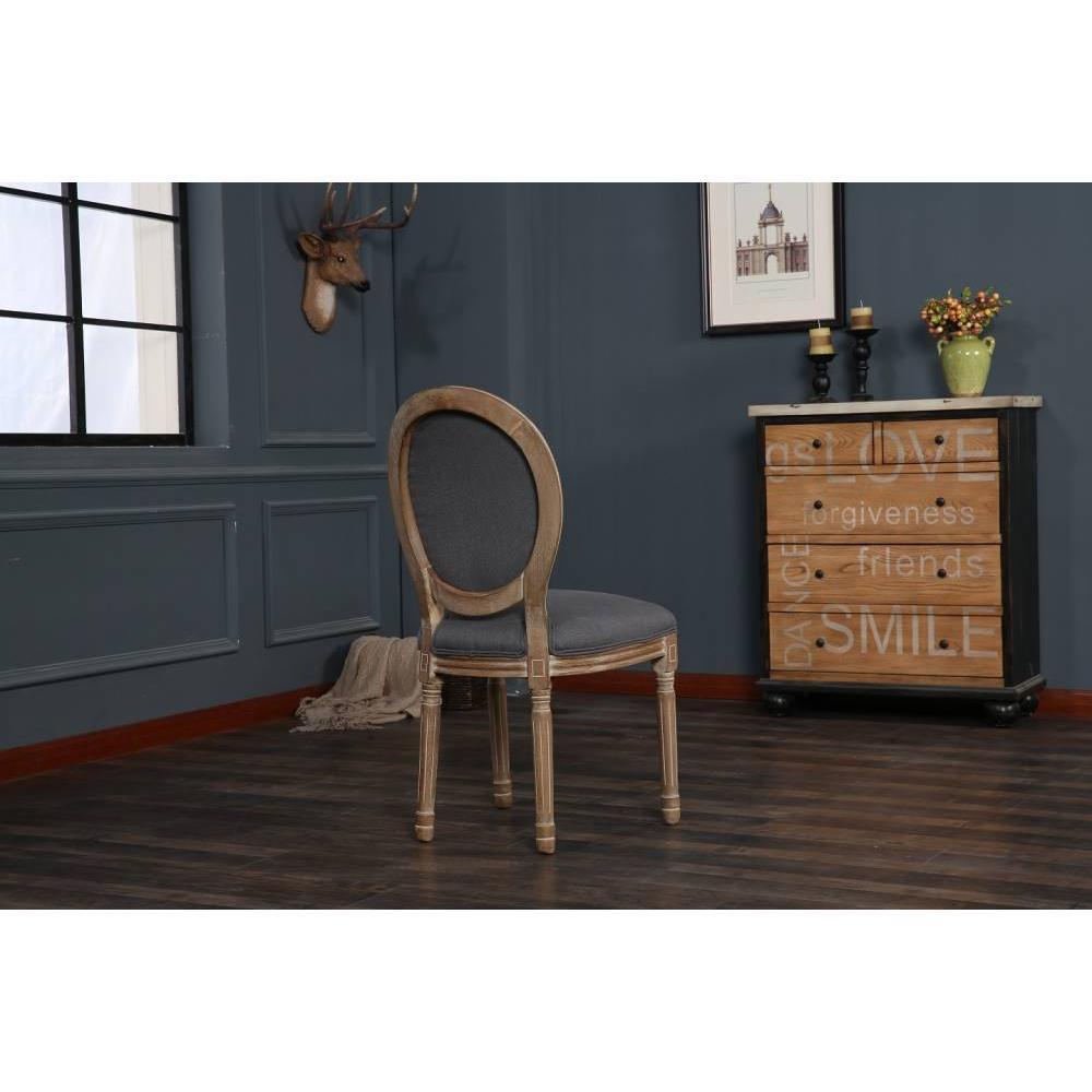 Lot de 8 chaises médaillon VERSAILLES style louis XVI lin gris et chêne clair vieilli
