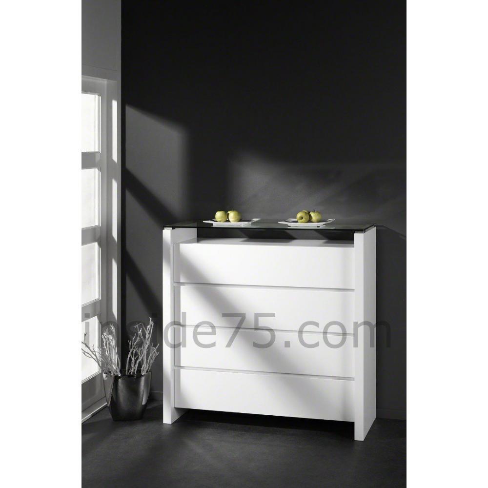 Commodes meubles et rangements maeva commode laqu e blanc brillant 4 tiroir - Commode blanc brillant ...