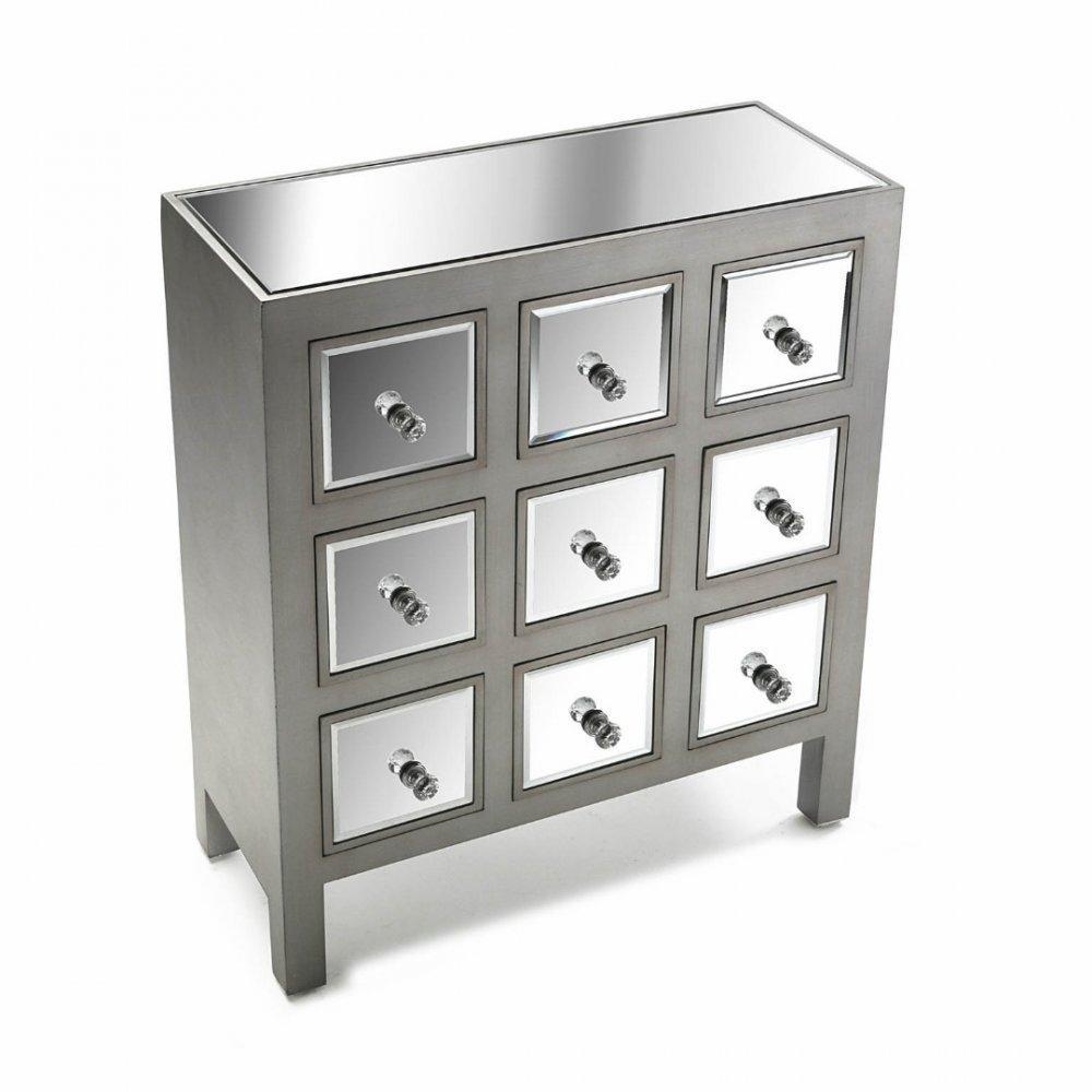 commode marsala 9 tiroirs design argent et miroir