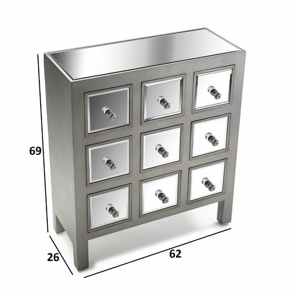 Commodes meubles et rangements commode marsala 9 tiroirs design argent et miroir inside75 - Commode vintage ninedesign ...