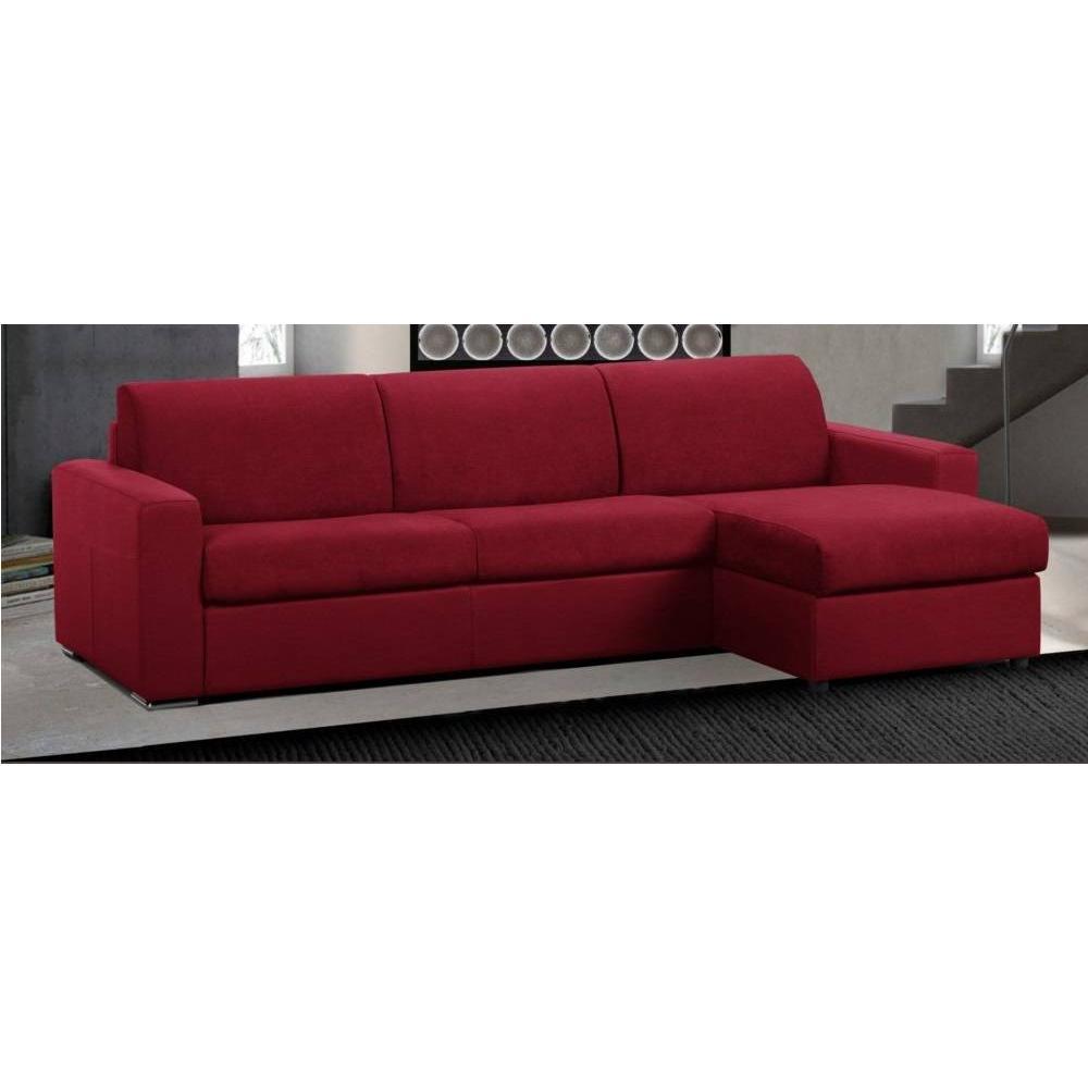 Canapé d'angle 2 places Rouge Tissu Confort