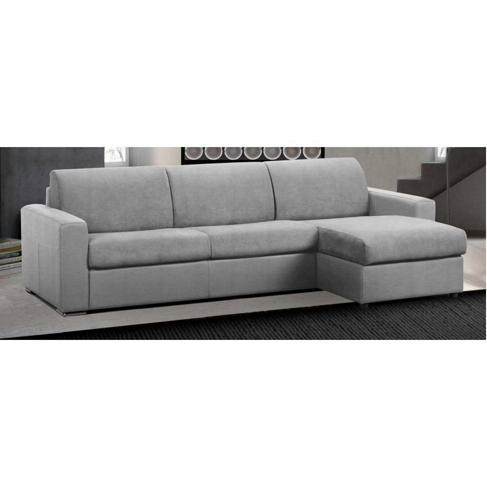 Canapé d'angle 2 places Gris Tissu Confort