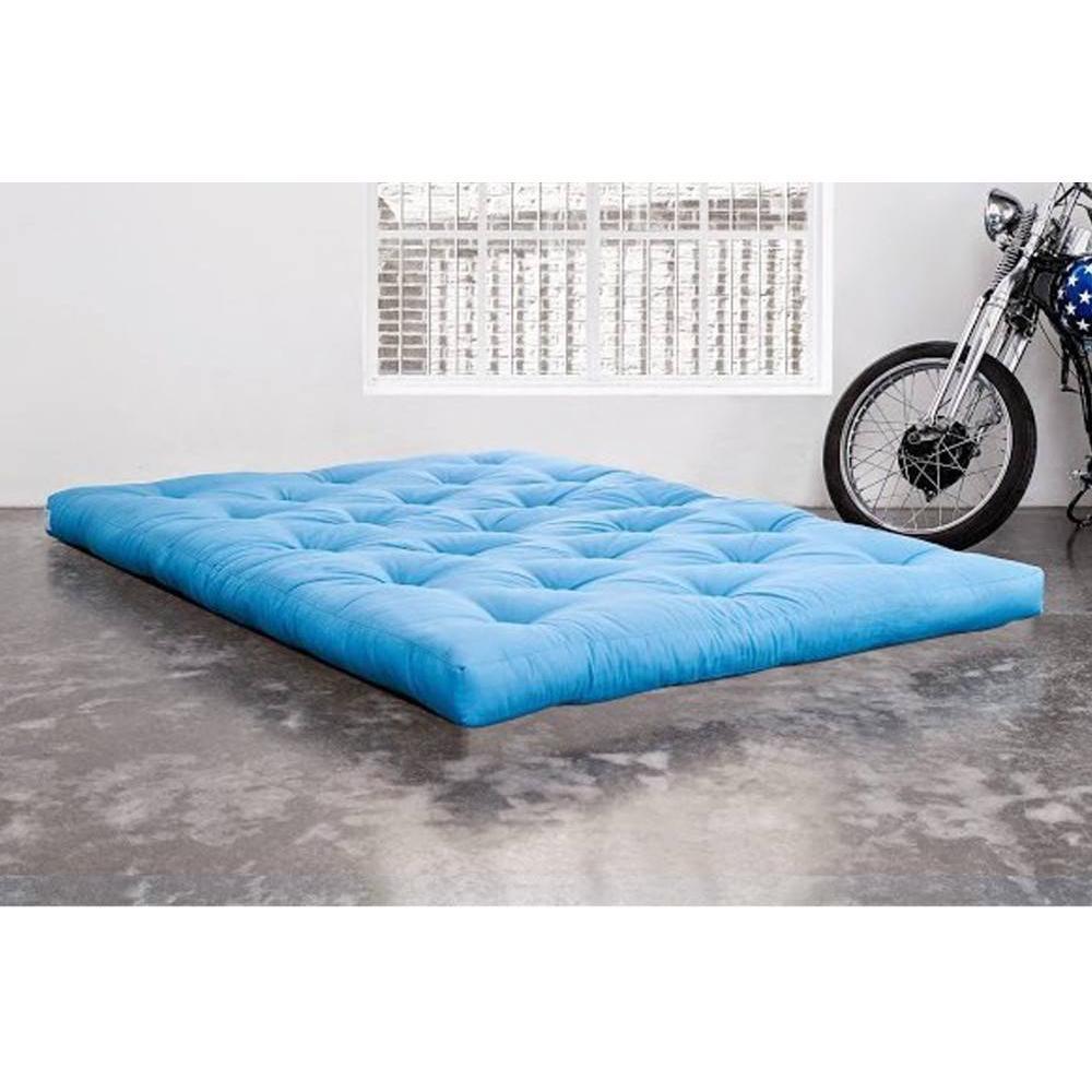 Matelas chambre literie matelas futon traditionnel bleu azur longueur couchage 200cm inside75 - Matelas futon 1 place ...