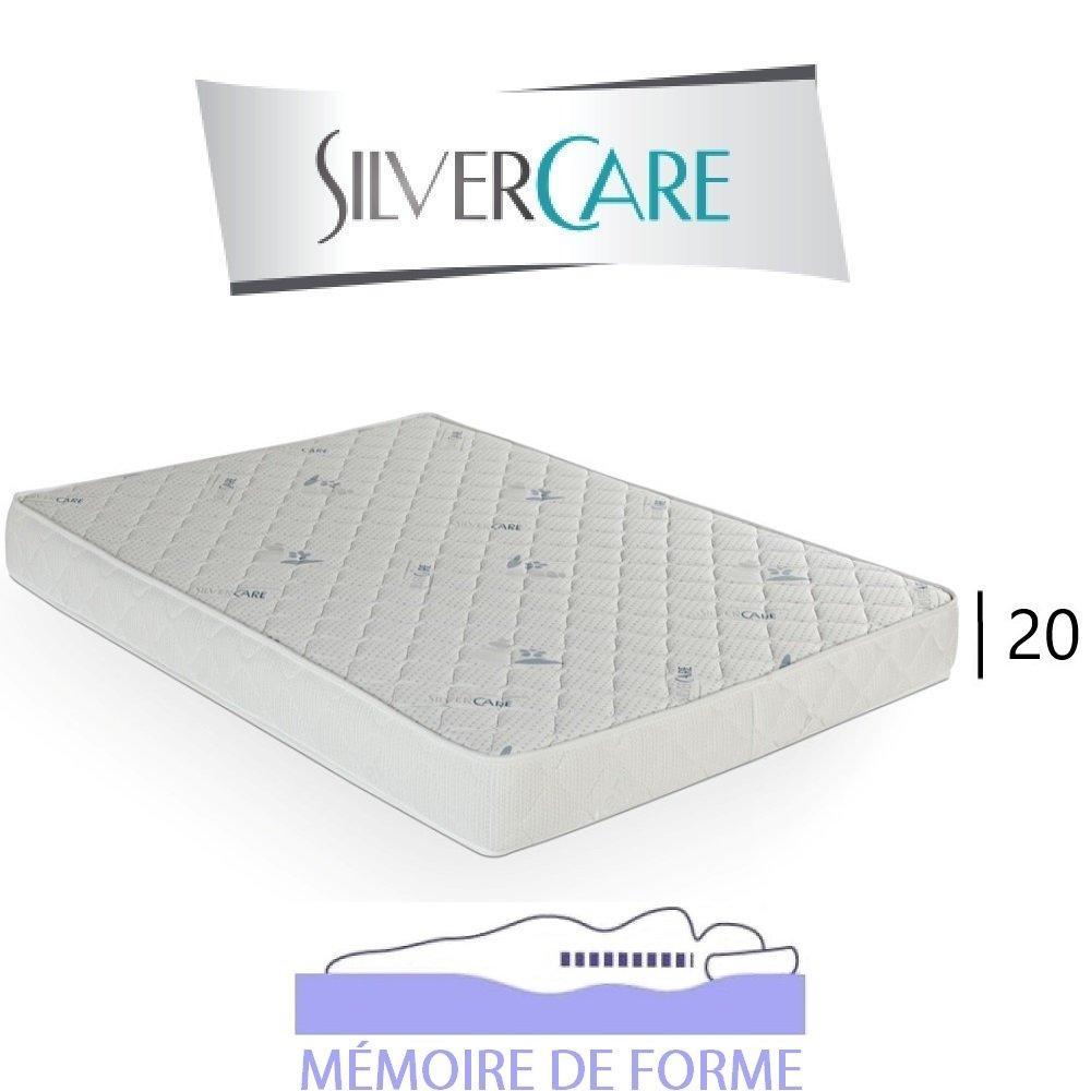 Matelas à mémoire de forme TEMPO Silvercare épaisseur 20 cm  dont 4 cm 50Kg/m3 pour canapé express 140 cm
