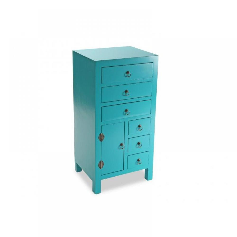 chiffonniers meubles et rangements matmata chiffonnier bois 6 tiroirs 1 porte turquoise inside75. Black Bedroom Furniture Sets. Home Design Ideas