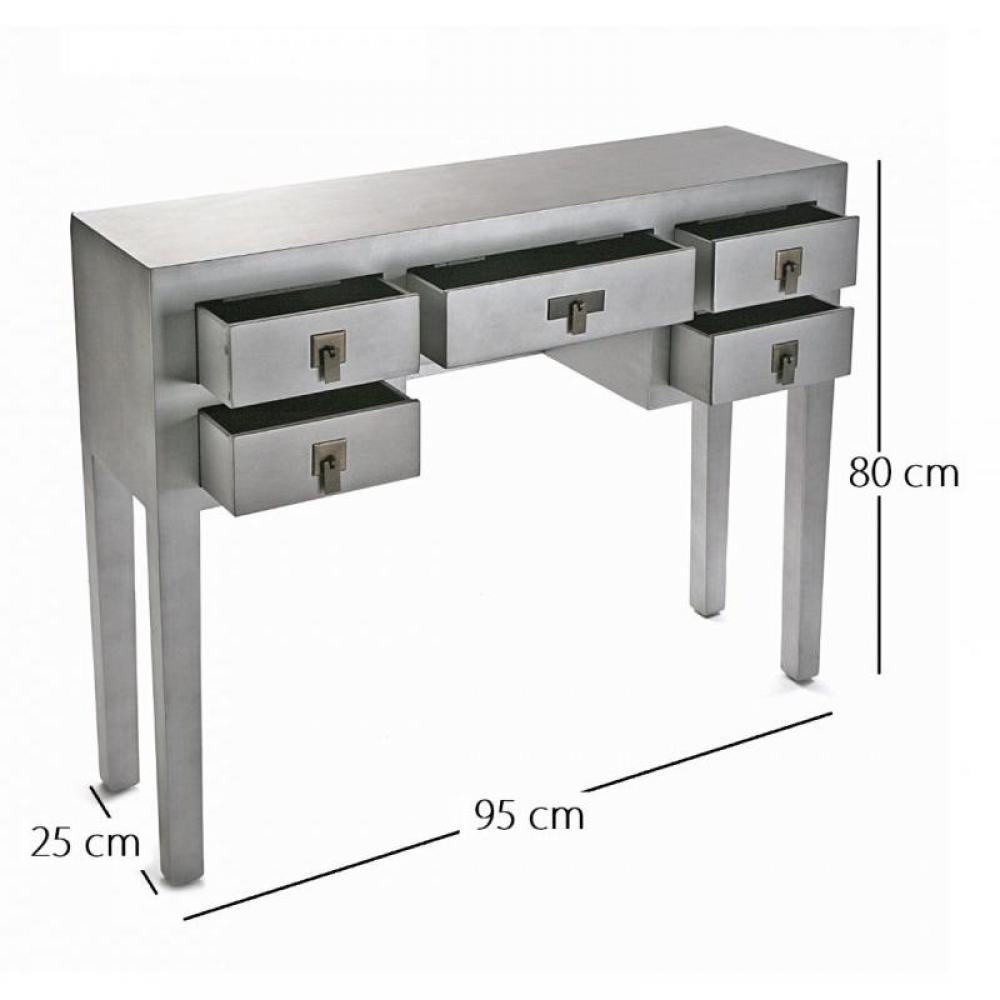 console design ultra tendance au meilleur prix matmata console design en bois argent 5 tiroirs. Black Bedroom Furniture Sets. Home Design Ideas