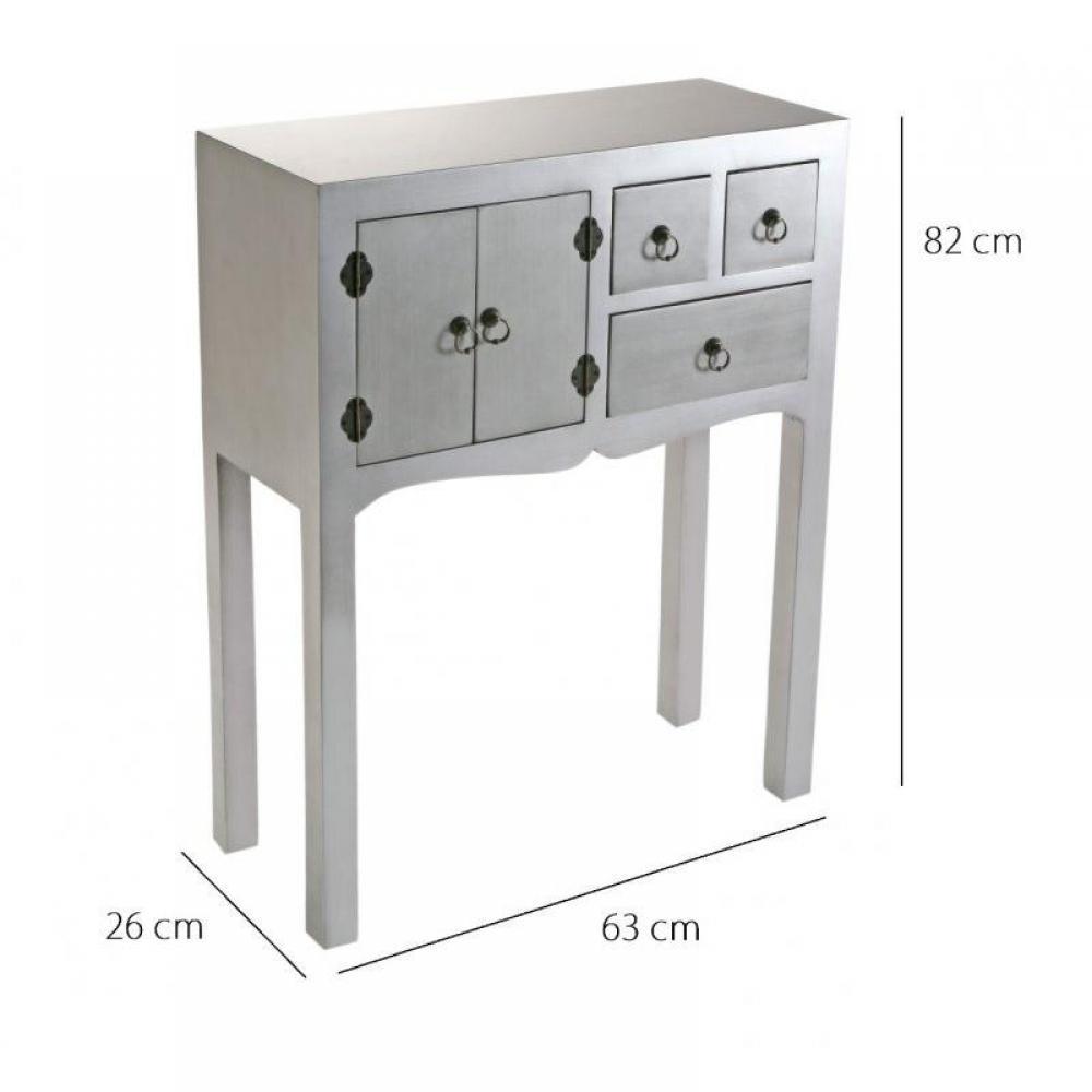 chaises meubles et rangements matmata petite console design argent en bois 3 tiroirs 2 portes. Black Bedroom Furniture Sets. Home Design Ideas