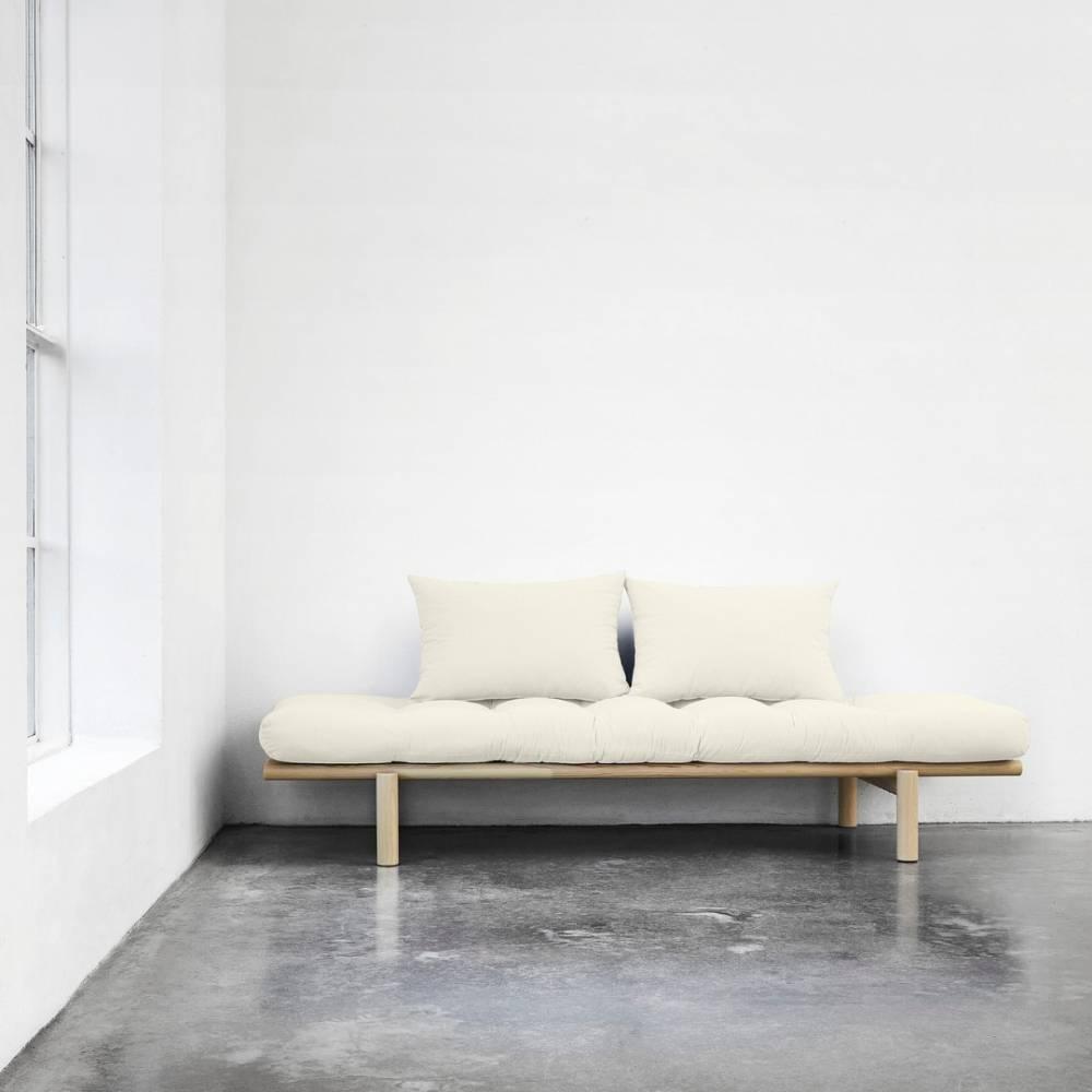Méridienne futon HEDDA en pin coloris naturel couchage 75*200 cm.