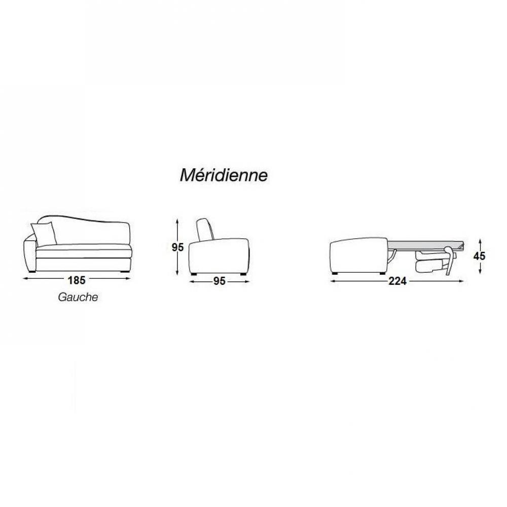 MARGOT méridienne lit ouverture EXPRESS convertible 140 cm accoudoir à gauche matelas 16 cm