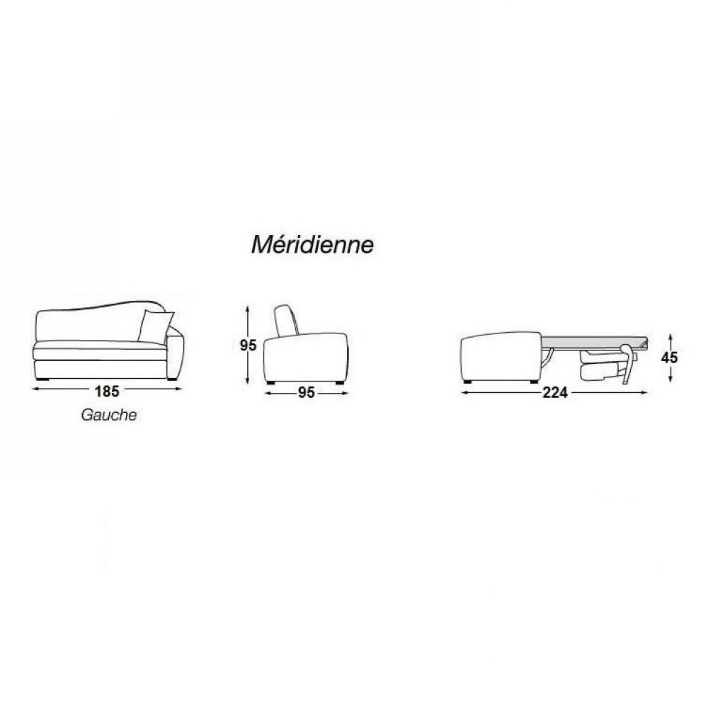 MARGOT méridienne lit ouverture EXPRESS convertible 140 cm accoudoir à droite matelas 16 cm