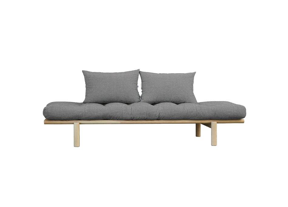 Méridienne futon HEDDA en pin coloris gris granit couchage 75*200 cm.