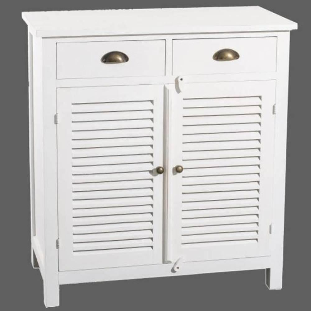 Buffets meubles et rangements petit buffet 2 portes 2 tiroirs eva en bois blanc style charme for Buffet 2 portes 2 tiroirs