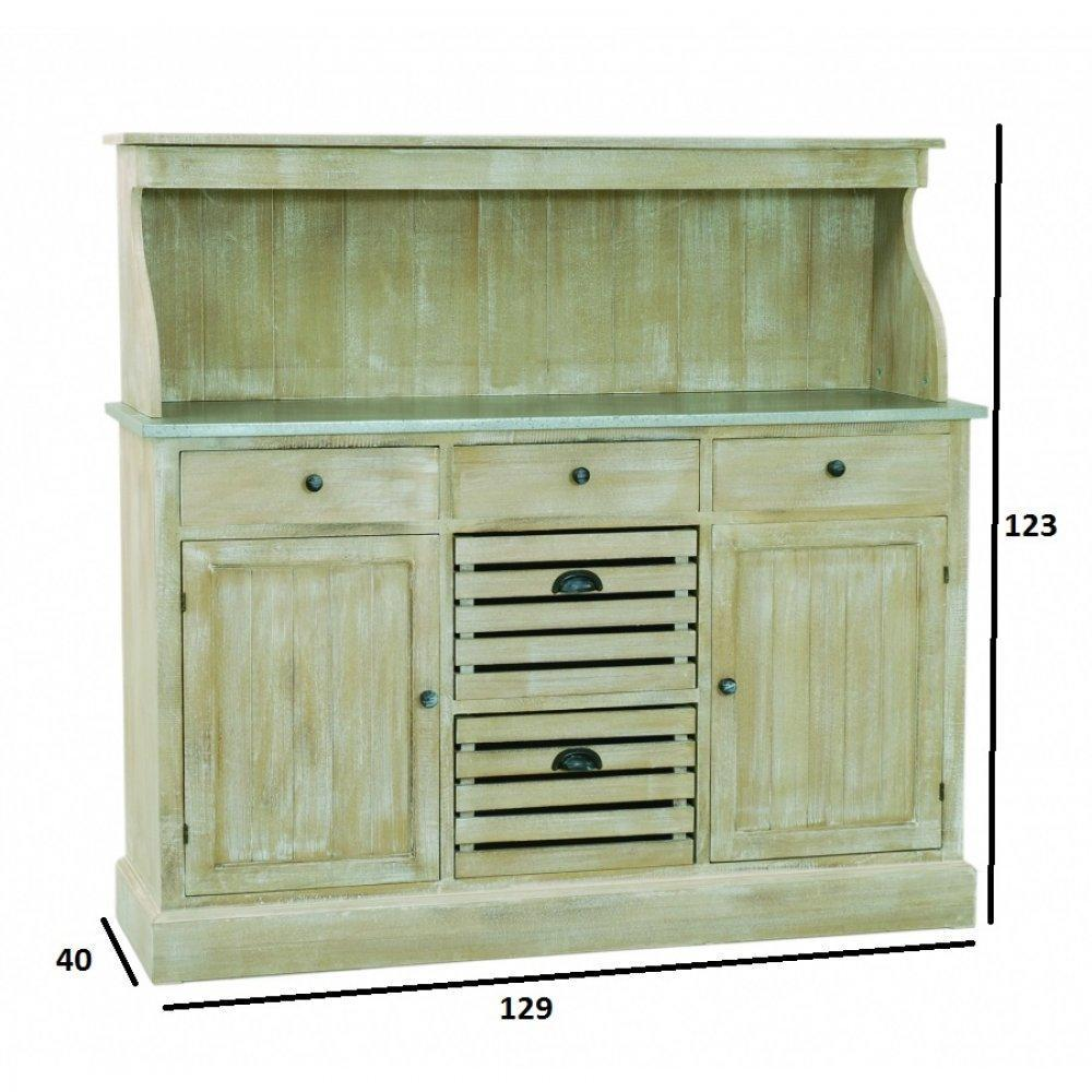 commodes meubles et rangements meuble 2 portes 5 tiroirs sarah en bois de paulownia style. Black Bedroom Furniture Sets. Home Design Ideas