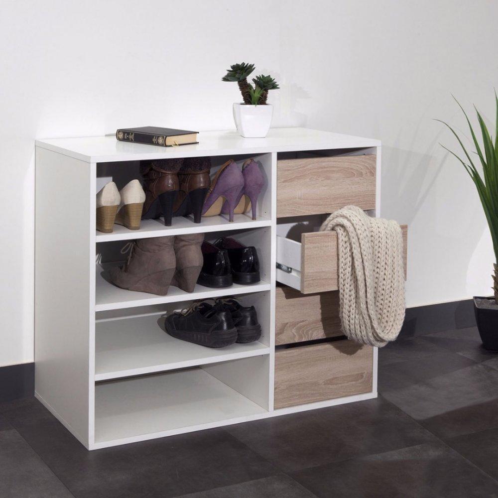 meubles chaussures meubles et rangements meuble chaussures mirage blanc design 4 tiroirs. Black Bedroom Furniture Sets. Home Design Ideas
