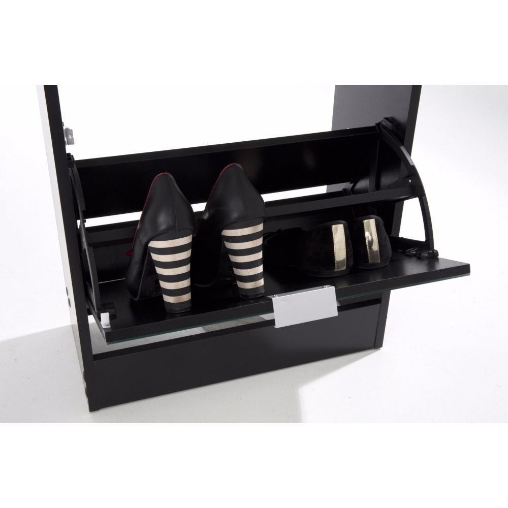 meubles chaussures meubles et rangements meuble chaussures rack2 noir 4 portes miroir inside75. Black Bedroom Furniture Sets. Home Design Ideas