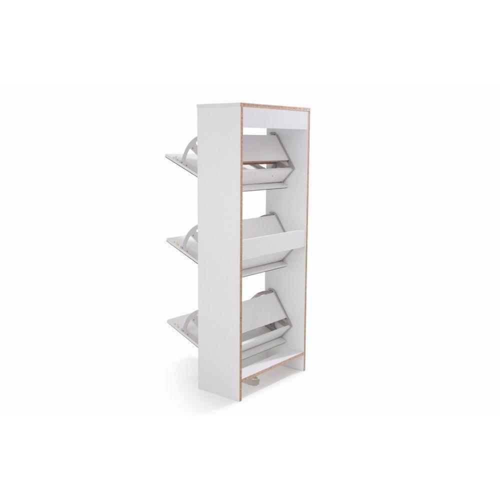meubles chaussures meubles et rangements meuble chaussures venus blanc 3 portes miroir. Black Bedroom Furniture Sets. Home Design Ideas