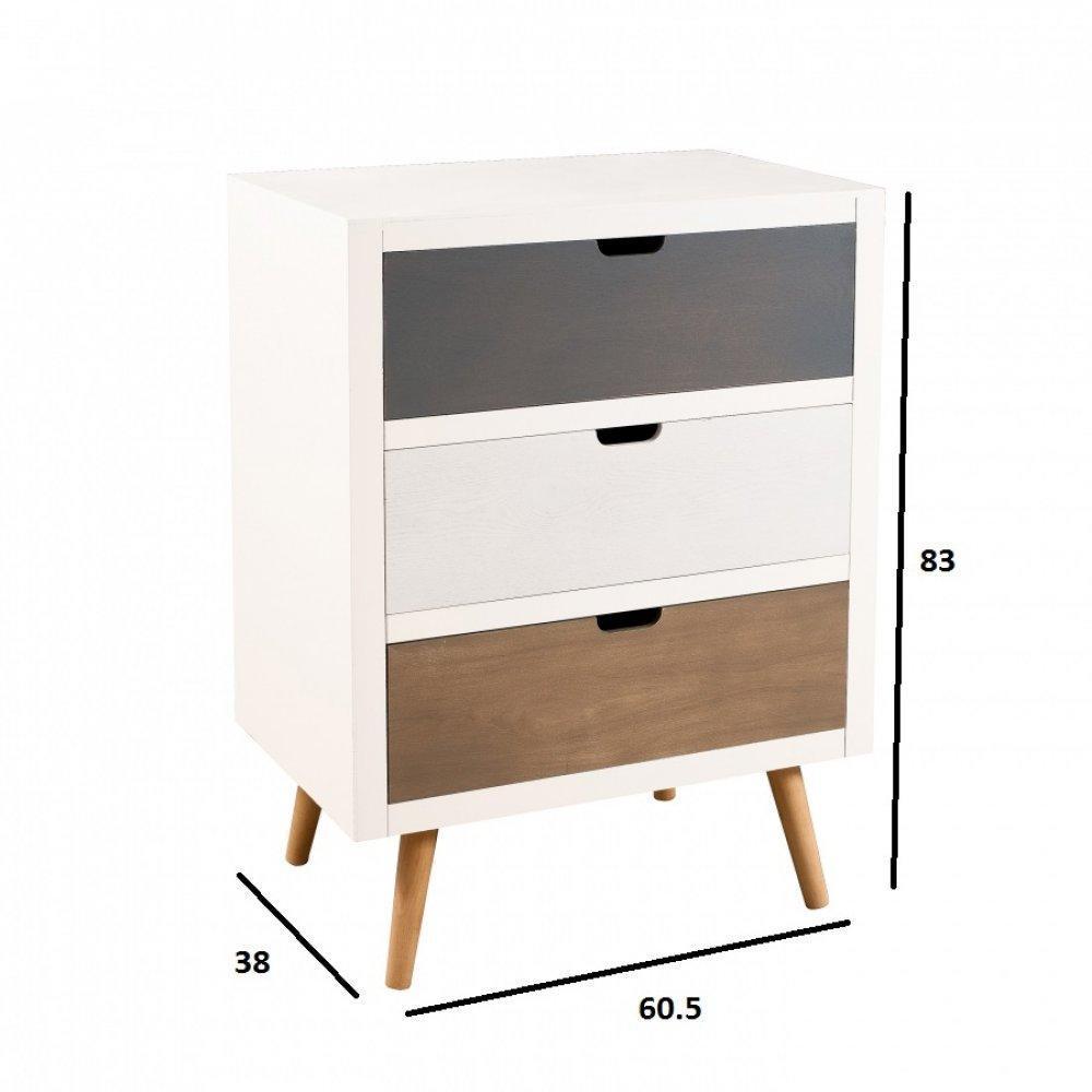 Commodes meubles et rangements meuble 3 tiroirs enzo en pin style scandinave inside75 for Meuble design scandinave