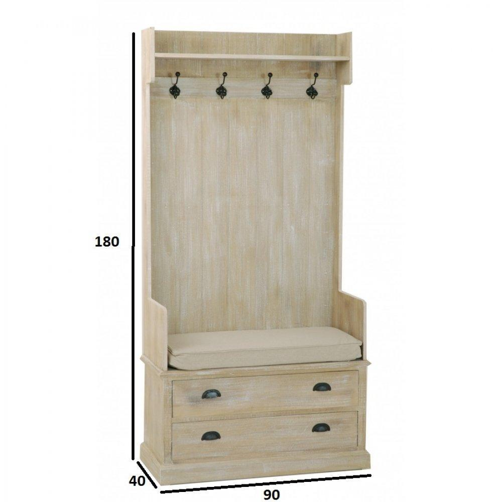 portes manteaux meubles et rangements meuble porte manteau sarah en bois de paulownia style. Black Bedroom Furniture Sets. Home Design Ideas