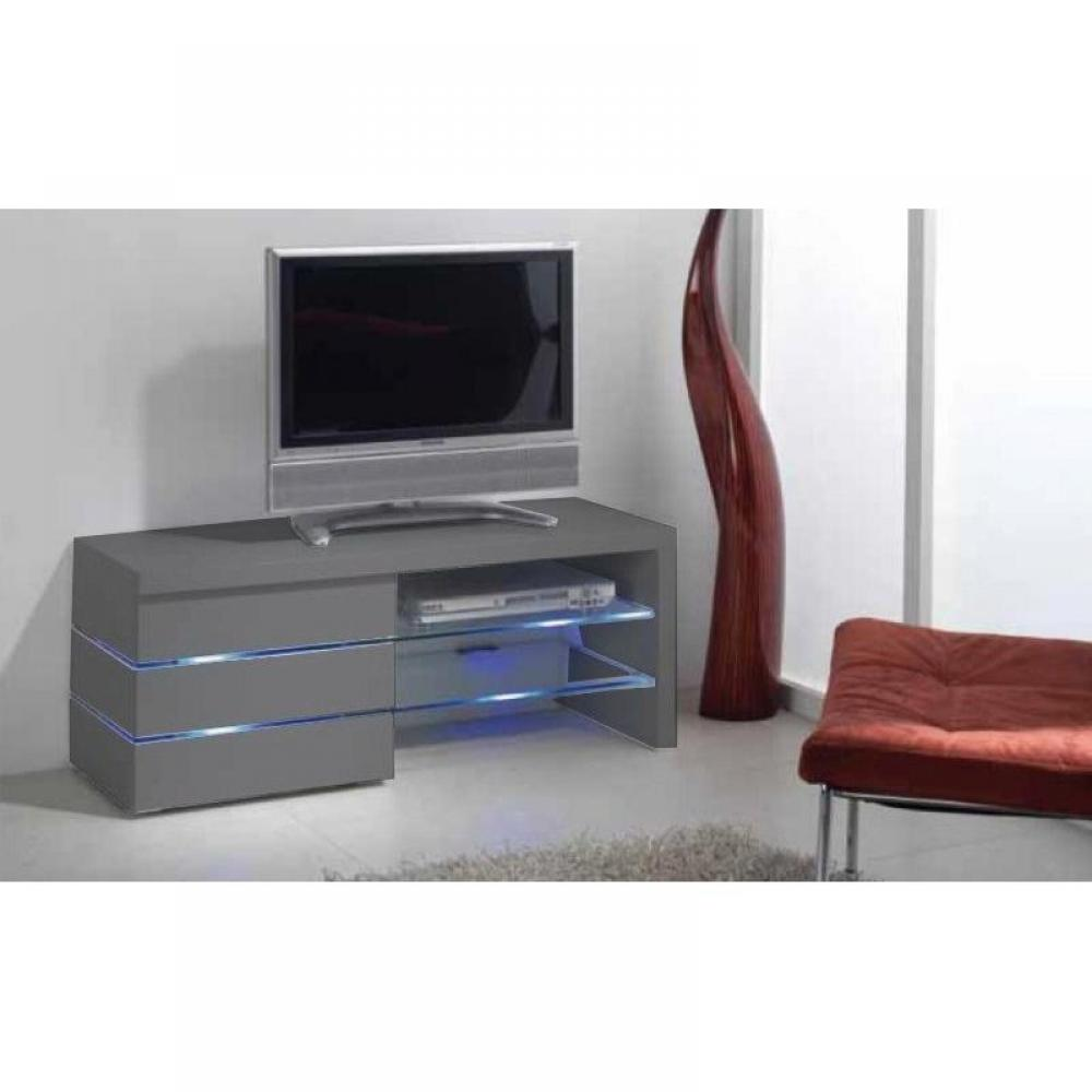 meubles tv meubles et rangements meuble tv leon gris mat et lumi re led inside75. Black Bedroom Furniture Sets. Home Design Ideas