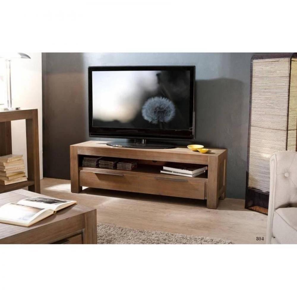 Meubles Tv Meubles Et Rangements Meuble Tv Nina 1 Tiroirs En  # Meuble Tv Acacia