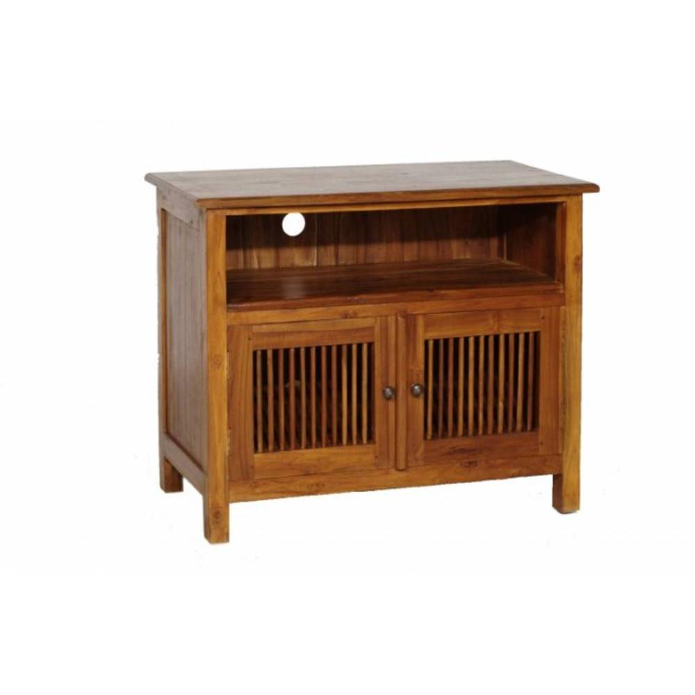 meubles tv meubles et rangements meuble tv 2 tiroirs persiennes colonial en teck massif inside75. Black Bedroom Furniture Sets. Home Design Ideas