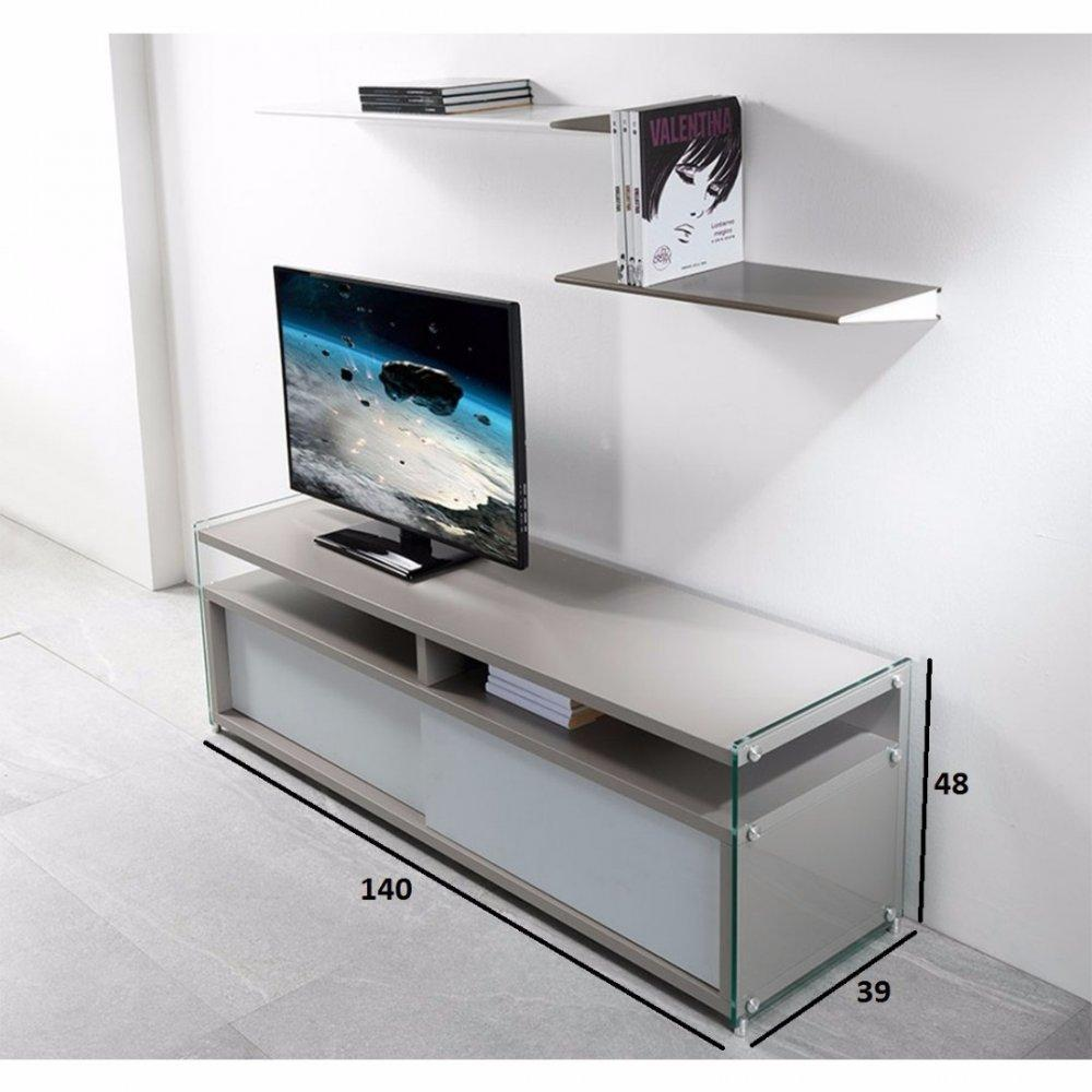 Meubles tv meubles et rangements meuble tv talac gris for Meuble gris patine blanc
