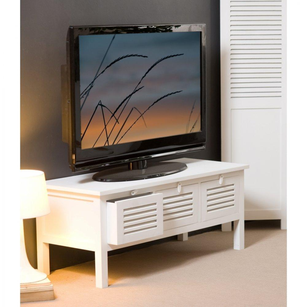 meubles tv meubles et rangements meuble tv 3 tiroirs eva en bois blanc style charme colonial. Black Bedroom Furniture Sets. Home Design Ideas