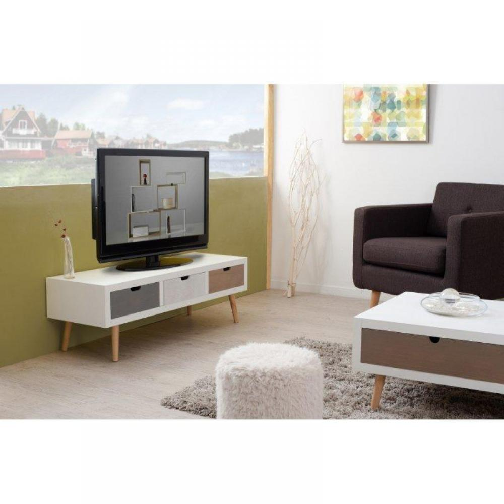 meubles tv meubles et rangements meuble tv enzo 3 tiroirs blanc et bois style scandinave. Black Bedroom Furniture Sets. Home Design Ideas