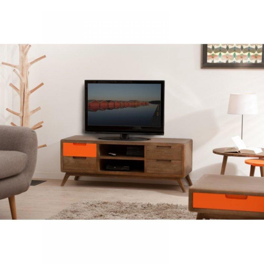 Canap convertible au meilleur prix meuble tv 4 tiroirs 2 for Meuble tv 4 niches 2 tiroirs
