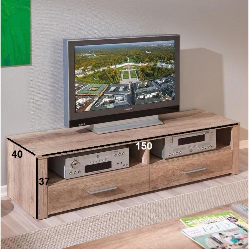 meubles tv meubles et rangements meuble tv absoluto 2 tiroirs et 2 niches en bois chene brut. Black Bedroom Furniture Sets. Home Design Ideas