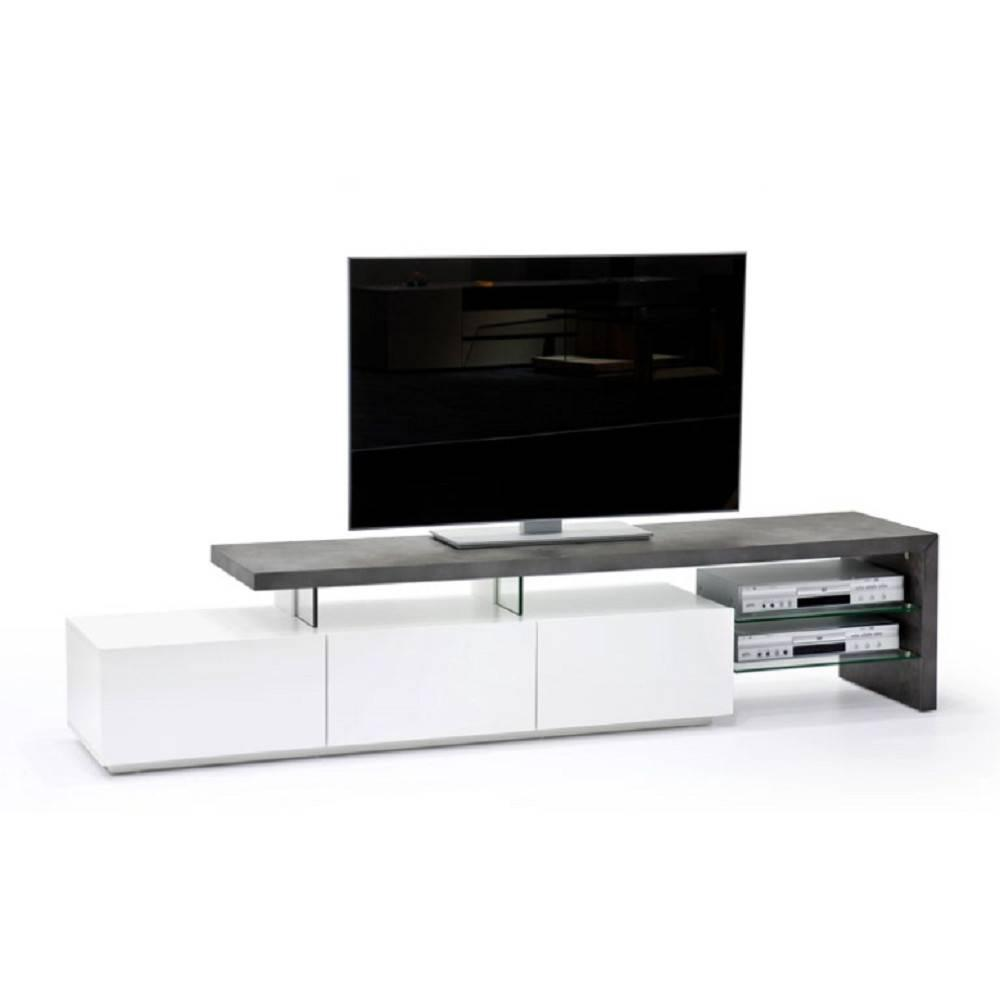 meubles tv meubles et rangements meuble tv design alrik 3 tiroirs laqu blanc mat et b ton. Black Bedroom Furniture Sets. Home Design Ideas