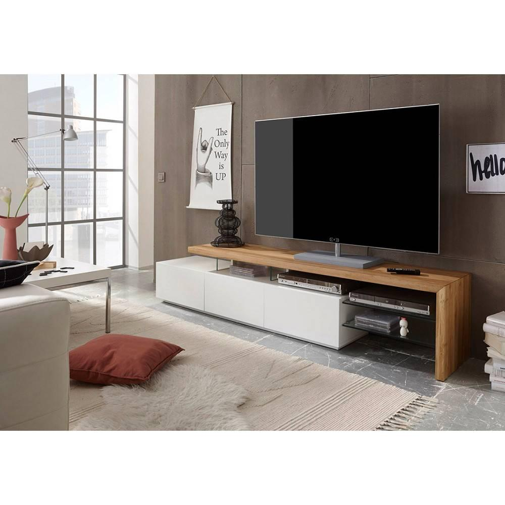 f57b388038dfc Meuble TV design ALRIK 3 tiroirs laqué blanc mat et chêne