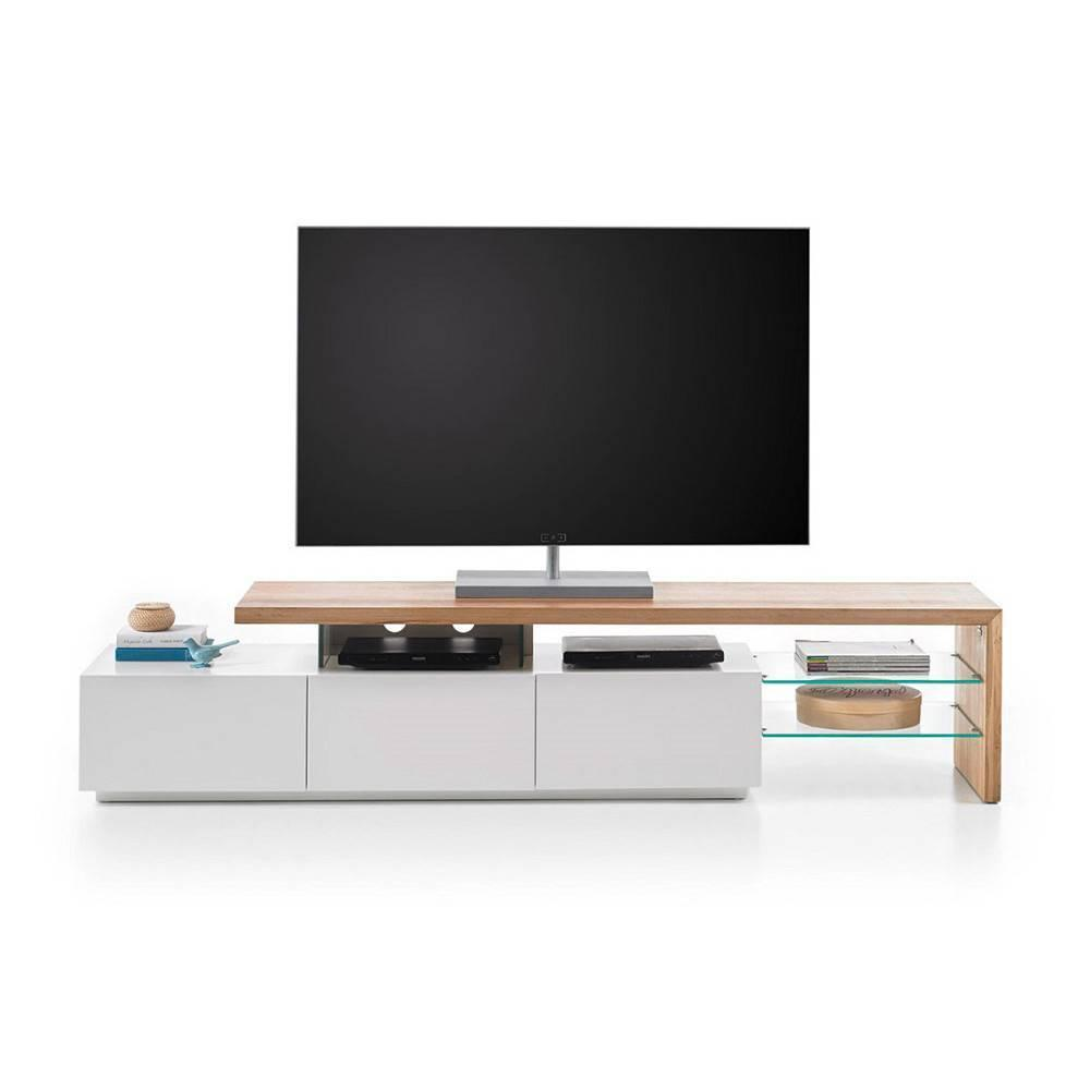 meubles tv meubles et rangements meuble tv design alrik 3 tiroirs laqu blanc mat et ch ne. Black Bedroom Furniture Sets. Home Design Ideas