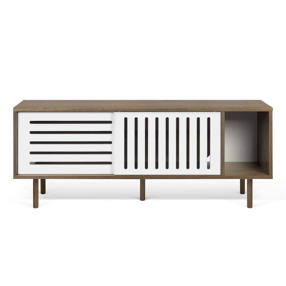 meuble tv 4 niches 2 tiroirs fa ades laqu es rayan coloris blanc laqu comparer les prix sur. Black Bedroom Furniture Sets. Home Design Ideas