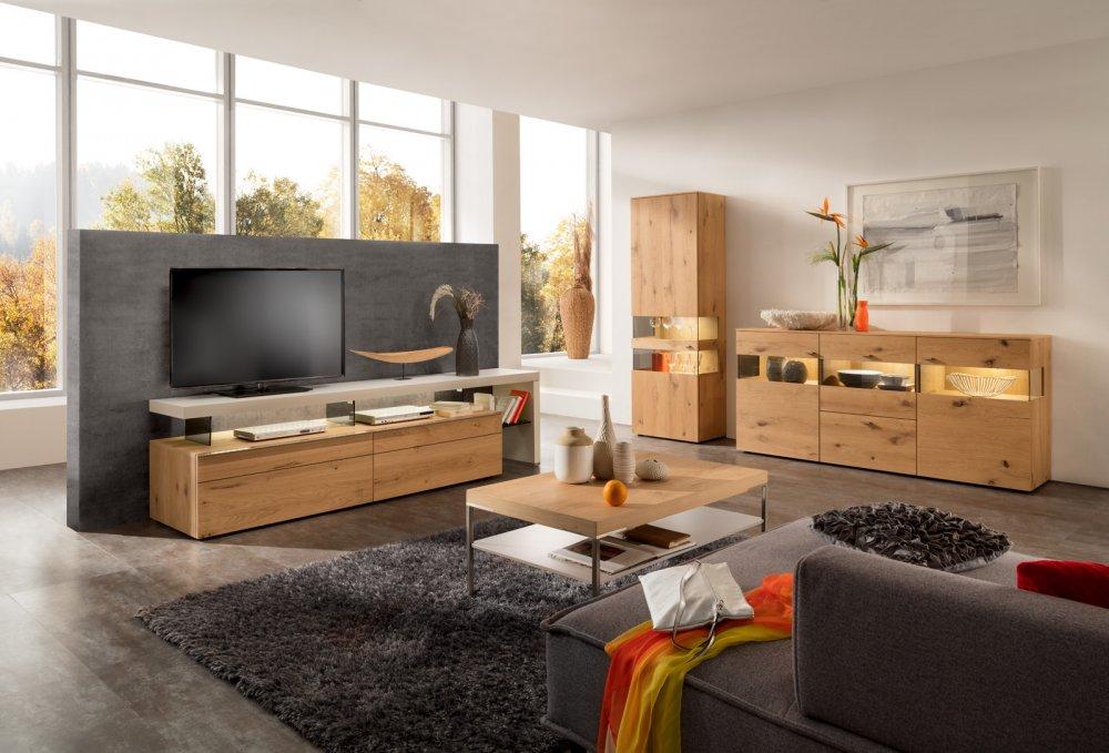 Meuble TV ANZIO 244 cm chêne et blanc 2 portes