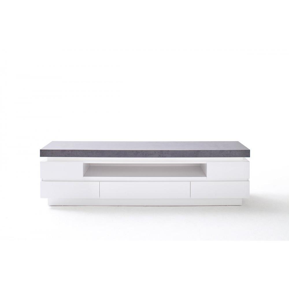 Meuble TV design ATLANTIC CITY laqué blanc mat et imitation béton 5 tiroirs LED inclus