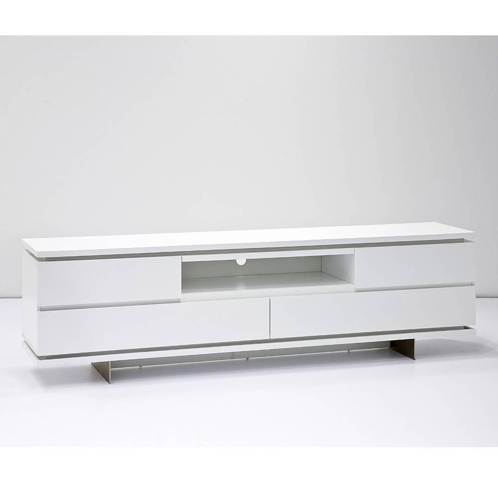 Meuble TV BALE laqué blanc mat 4 tiroirs 1 niche LED inclus