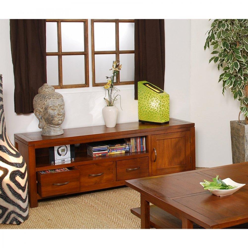 meubles tv meubles et rangements meuble tv bas lauren lorine 3 tiroirs en midi inside75. Black Bedroom Furniture Sets. Home Design Ideas