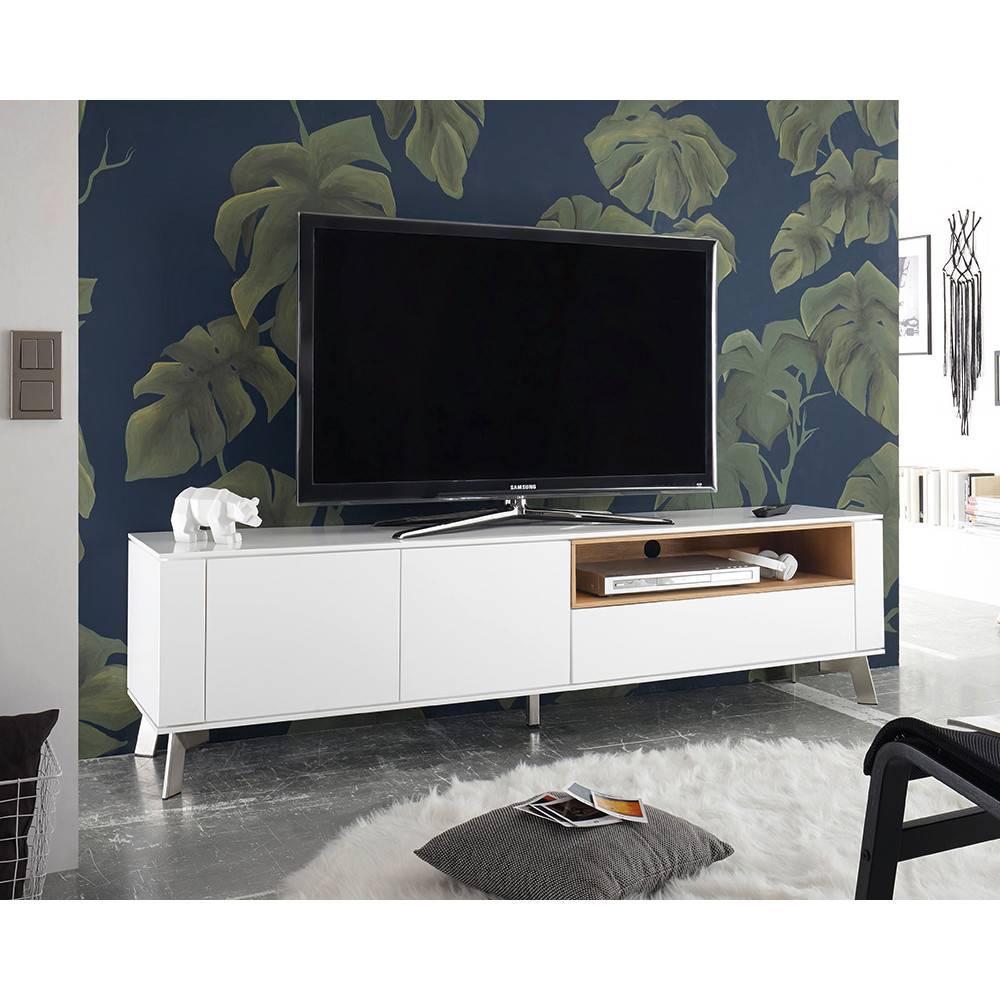 meubles tv meubles et rangements meuble tv design laqu blanc bellinzona pieds acier bross. Black Bedroom Furniture Sets. Home Design Ideas