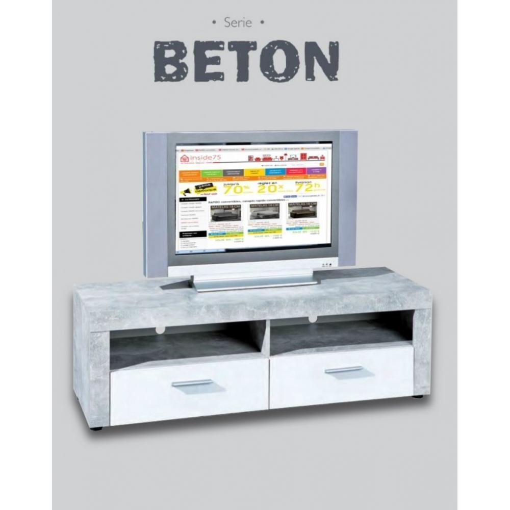 Meubles tv meubles et rangements meuble tv 2 tiroirs et for Meuble tv blanc tiroir