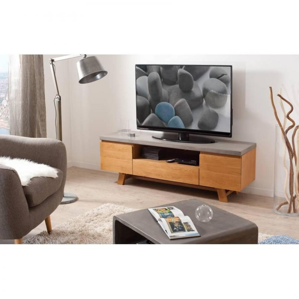 meubles tv meubles et rangements meuble tv design industriel nino en ch ne plateau en b ton. Black Bedroom Furniture Sets. Home Design Ideas