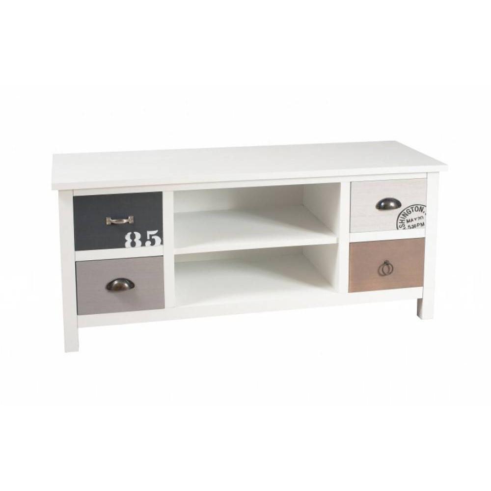 meubles tv meubles et rangements meuble tv 4 tiroirs hugo style bord de mer inside75. Black Bedroom Furniture Sets. Home Design Ideas