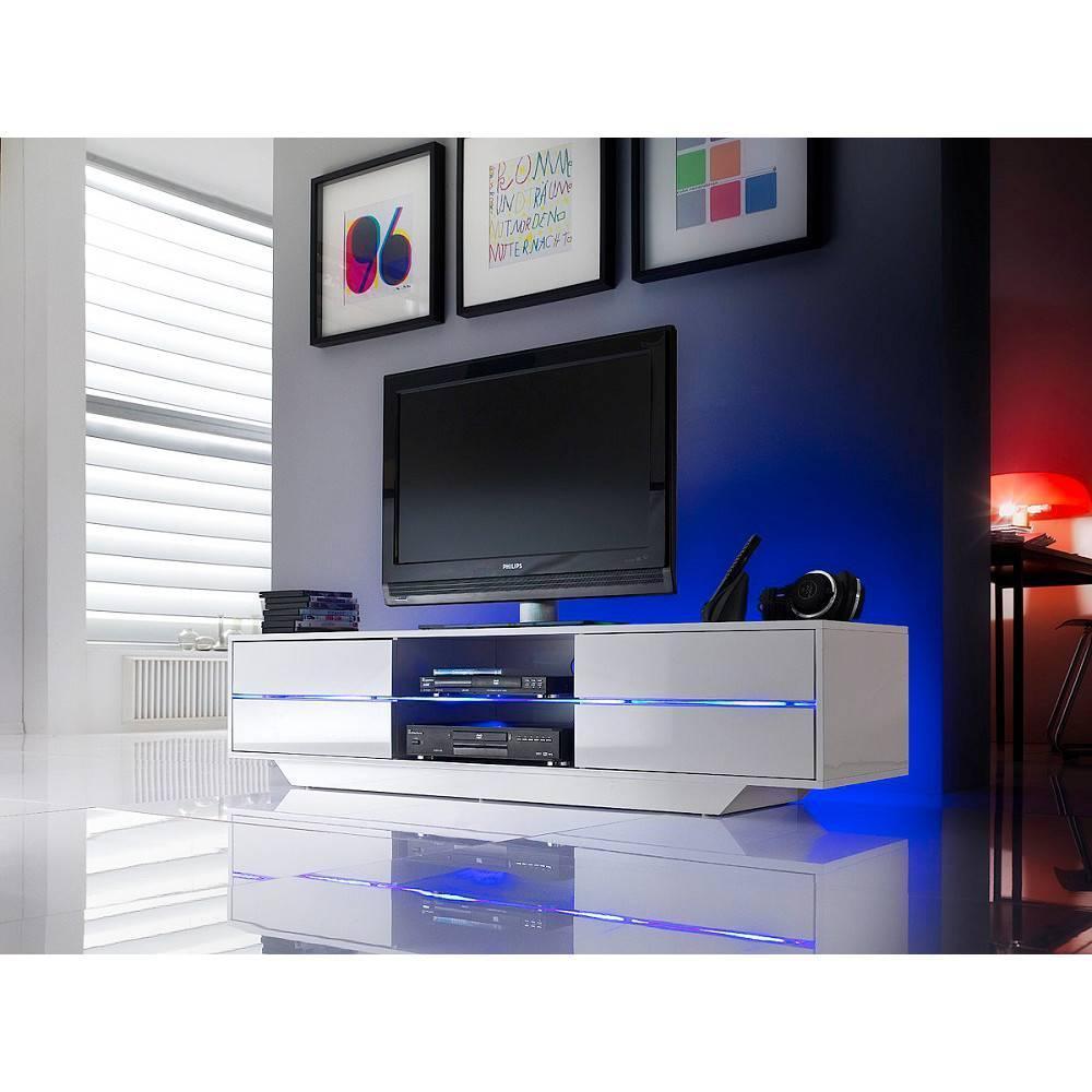 Meubles Tv Meubles Et Rangements Meuble Tv Design Bosco 4  # Meuble Tv Led Blanc Laque