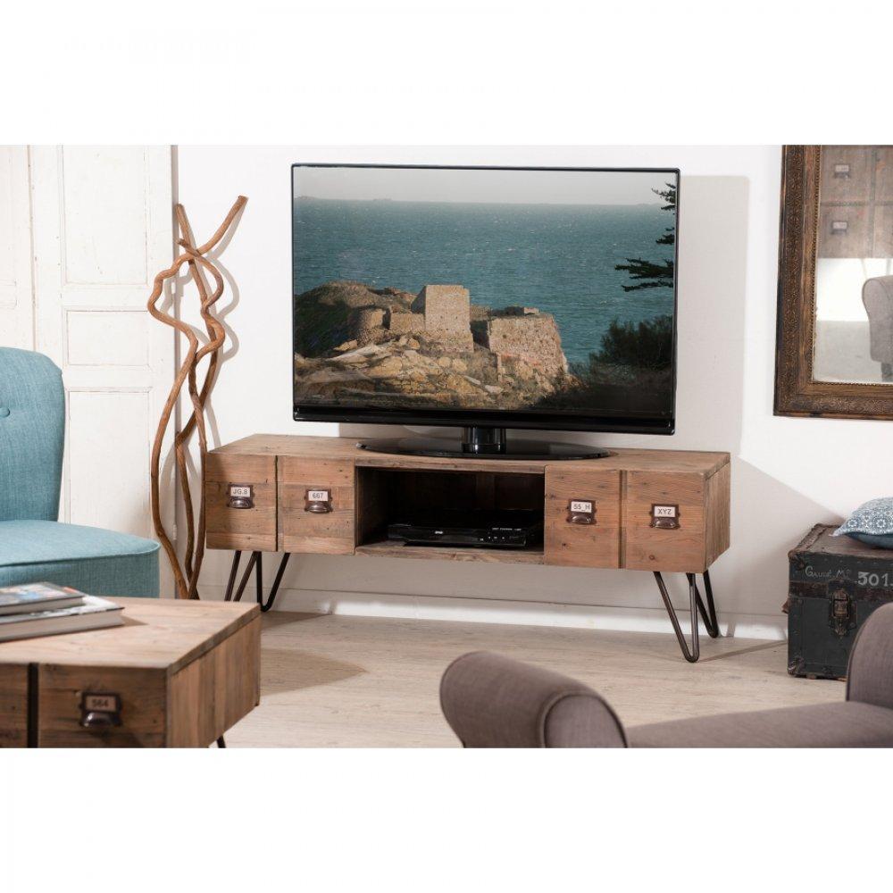 Meubles Tv Meubles Et Rangements Meuble Tv Blanc 3 Tiroirs Anna  # Meuble Tv Frene